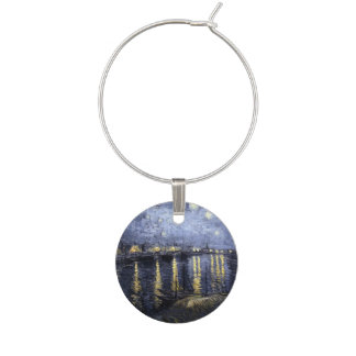 Starry Night over the Rhone by Vincent van Gogh Wine Glass Charm
