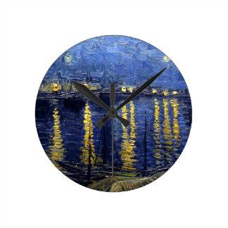Starry Night Over the Rhone Round Wall Clocks