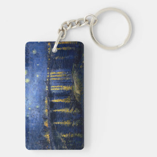 Starry Night Over the Rhone Double-Sided Rectangular Acrylic Key Ring