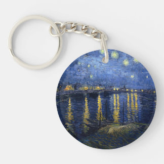 Starry Night Over the Rhone Double-Sided Round Acrylic Key Ring