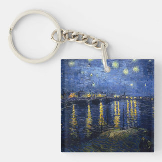 Starry Night Over the Rhone Double-Sided Square Acrylic Key Ring