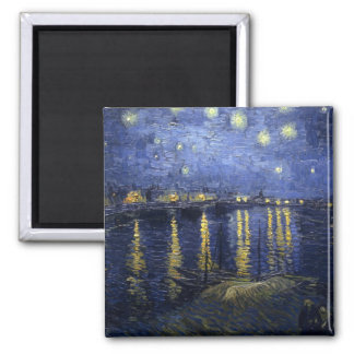 Starry Night over the Rhone Square Magnet