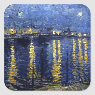 Starry Night Over the Rhone Square Sticker