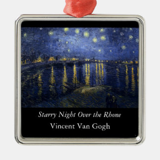 Starry Night Over the Rhone - Van Gogh (1888) Silver-Colored Square Decoration