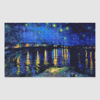 Starry Night Over the Rhone Van Gogh Fine Art Rectangular Sticker