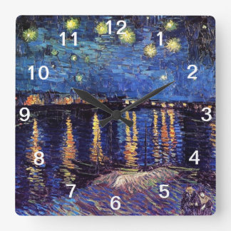 Starry Night over the Rhone, Vincent Van Gogh Square Wall Clock