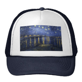 Starry Night Over The River Rhone Mesh Hat
