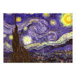 Starry Night painting by artist Vincent Van Gogh Announcement