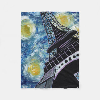 Starry Night Paris Fleece Blanket
