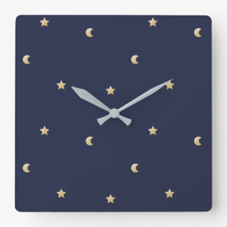 Starry Night Pattern Square Wall Clock