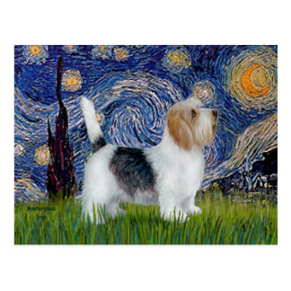 Starry Night - Petit Basset (PBGV) Postcard