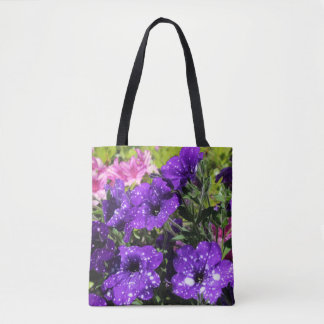 Starry Night Petunia flower tote bag