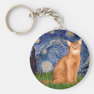 Starry Night - Red Abyssinian Key Ring