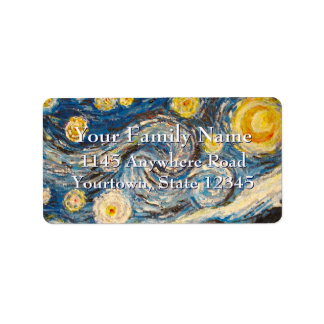 Starry Night repaint after Vincent Van Gogh Address Label