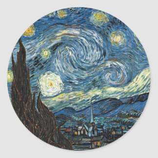 Starry Night Round Sticker