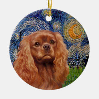 Starry Night - Ruby Cavalier King Charles Ceramic Ornament