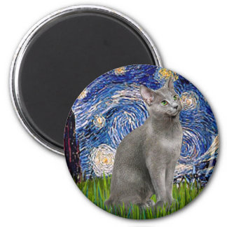 Starry Night - Russian Blue cat 6 Cm Round Magnet