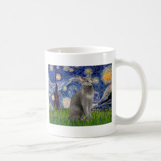 Starry Night - Russian Blue cat Coffee Mug