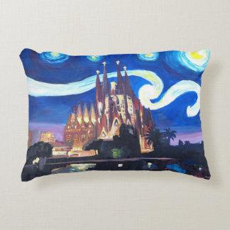 Starry night Sagrada familia in Barcelona Decorative Cushion