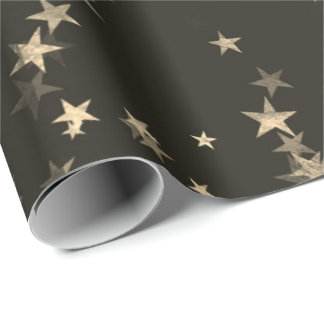 Starry Night Sepia Brown Forest Gold Confetti Wrapping Paper