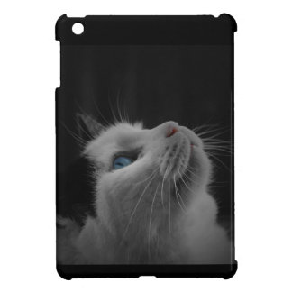Starry night sky black & white cat with blue eyes case for the iPad mini
