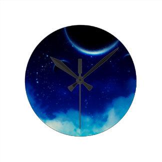 Starry Night Sky Round Clock