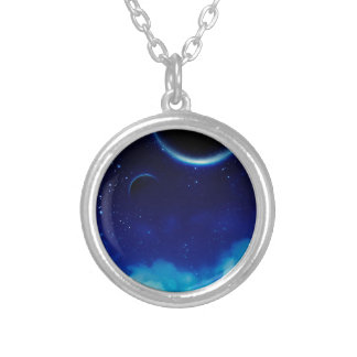 Starry Night Sky Silver Plated Necklace