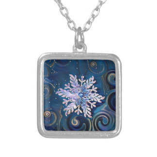 Starry Night Snowflake Silver Plated Necklace