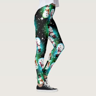 Starry Night Snowman Christmas Leggings