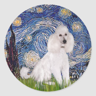 Starry Night - Standard White Poodle (C) Classic Round Sticker