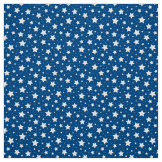 Starry night star pattern fabric - white and blue
