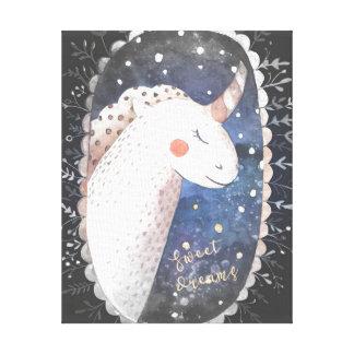 Starry Night Sweet Dreams Unicorn Canvas Print