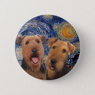 Starry Night - Two Airedales 6 Cm Round Badge