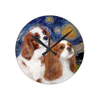 Starry Night - Two Blenheim Cavaliers Wall Clocks