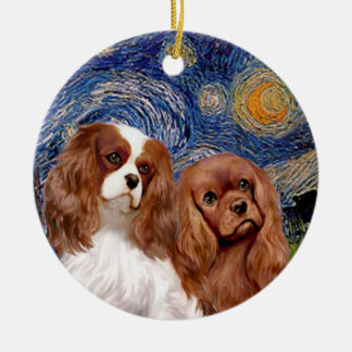 Starry Night - TWO Cavaliers (BL+Ruby) Ceramic Ornament