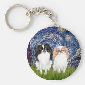 Starry Night - Two Japnaese Chins (BW+L) Key Ring