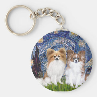 Starry Night - Two Papillons Key Ring