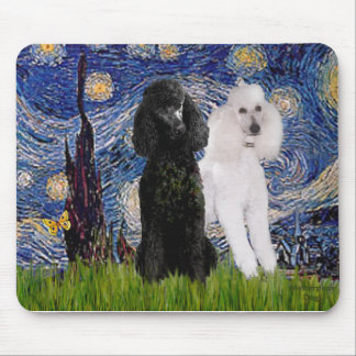 Starry Night - Two Standard Poodles Mouse Pad