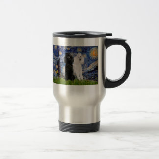 Starry Night - Two Standard Poodles Travel Mug