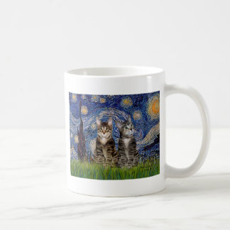 Starry Night - Two Tabby Tiger Cats Coffee Mug