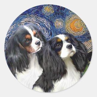 Starry Night - Two Tri Cavaliers Round Sticker