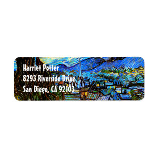 Starry Night Van Gogh Fine Art Return Address Label