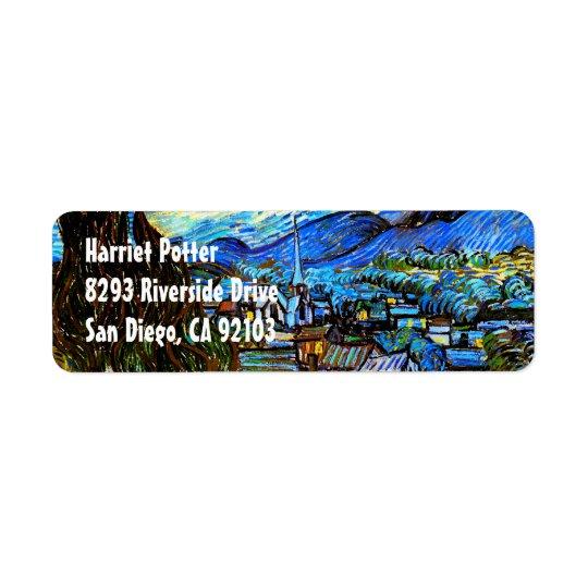 Starry Night Van Gogh Fine Art Return Address Label