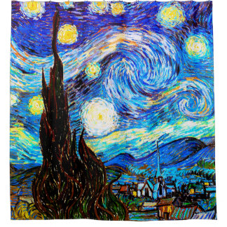Starry Night Van Gogh Fine Art Shower Curtain