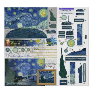 Starry Night Van Gogh Papercraft Poster Print