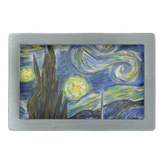Starry Night, Van Gogh Rectangular Belt Buckles