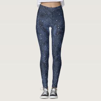 Starry Night Watercolor Sky Leggings