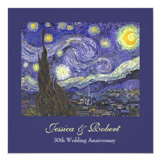 Starry Night wedding anniversary celebration 13 Cm X 13 Cm Square Invitation Card