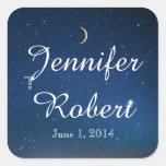 Starry Night Wedding Envelope Seal Square Sticker