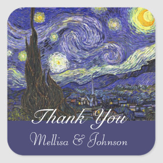Starry Night wedding favour thank you Square Sticker